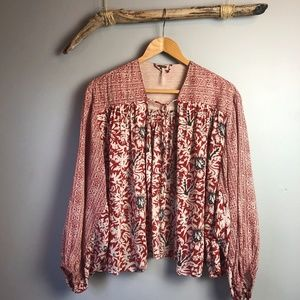 Free People Open Front Balloon Sleeve Peasant Top